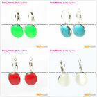 Fashion Ear Clip Earrings White Blue Red Black Oval Beads Tibetan Silver Hook