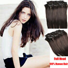 Full Head Set Clip In 100% Real Human Hair Extensions Any Lengths Dark Brown #2