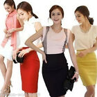 Womens OL Business Lady High Waist Dress Fit-Knee Straight Stretch Pencil Skirt