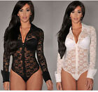 Sexy Women Sheer Long Sleeve Lace NO Lining Top Leotard Bodysuit Tops 2 colour