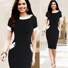 Womens Vintage Rockabilly Cotton Work Party Cocktail Bodycon Pencil Dress 8-14