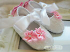 STUNNING Baby Girls Reborn White Pink Satin  Christening Wedding Pram Shoes
