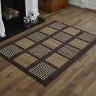 NEW X LARGE LARGE MEDIUM SMALL CHOCOLATE BROWN BEIGE STRIPES CHEAP SOFT RUG MAT
