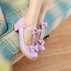 US4-11 sweet womens lace low heel pumps bowties T-strap cute lotia mary janes