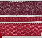 "Stretch Lace Trim, 6"", 6.5"" ior 2"" Wide Red Cranberry or Wine~Sold by the yard"