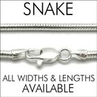 925 Sterling Silver Round Snake Chain Necklace (All Lengths & Widths)