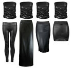 NEW BLACK PVC LEATHER LOOK RUCHE BOOBTUBE MINI MIDI MAXI LEGGINGS SET SIZE 8-14