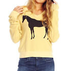New Casual Women V Neck Horse Print Knitted Loose Long Sleeve Pullover Sweater