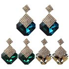 Fashion Chic Women Lady Square Crystal Luxury Sparkling Big Drop Earrings T3S