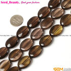 """Pretty Oval Flat Faceted & Smooth Smoky Quartz Gemstone Jewelry Making Beads 15"""""""
