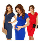 DA168 Plus Size Cotton Blend V Neck Maternity Dress For Pregnancy Womens Wear