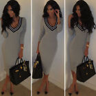 Sexy Women Deep V-Neck Long Sleeve Slim Bodycon Knit Knitwear Sweater Club Dress
