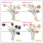Fashion 45x50mm Freshwater Pearl White Gold Plated Finished Jewelry  Brooch