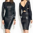 Women's Sexy Bodycon Stretch Reversible Faux Leather Midi Dress V back  Black