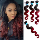 Ombre Hair Weave 3 Bundles 100%  VIRGIN PERUVIAN HUMAN HAIR Extensions 1B/1BURG#