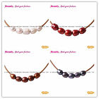 New 9-10mm Pearls 5 pcs Strand with Adjustable Brown Rope Jewelry Necklace 17.5""