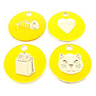 Personalised Engraved Yellow Pet Cat ID Tag-5 Designs Available-Free Engraving
