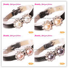 New 8-9mm Cultured Round Pearl Gold Plated Flower Black Leather Jewelry Bracelet