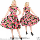 RKH76 Hearts & Roses Pink Roses Party Rockabilly Evening Dress 50s Retro Plus