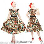RKH77 Hearts & Roses Sunflower Party Rockabilly Evening Dress 50s Retro Plus