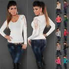 Women's Knit Cashmere Blend Crochet Sleeve Pullover Sweater Top - S/M (US 2-4-6)