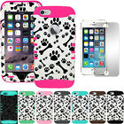 Dog Bones Paws Dual Hybrid Impact Protective Cover Case Screen for iPhone 6 4.7""
