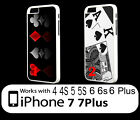 Texas Holdem Poker Game King Ace Card iPhone 6 7 8 Plus X XS Plastic Case Heart