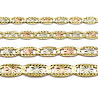 10K Yellow Gold Tri-Color Valentino Chain Necklace 2mm, 2.5mm, 3mm or 4mm