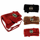 Women Faux Suede Clutch Bow Envelope Ladies Evening Shoulder Purse Jewel Handbag