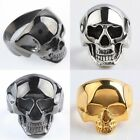 Skull Head Mens Stainless Steel Biker Goth Finger Ring Jewelry Silver/Gold/Black