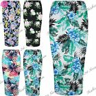 Womens Ladies Floral Leaves Summer Stretchy Bodycon Pencil Midi Skirt Plus Size