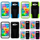 For Samsung Galaxy Core Prime/Prevail HYBRID Hard Soft Case Cover w/ Kickstand