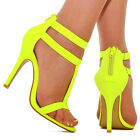 Womens Ladies Yellow Ankle Cuff Strappy Stiletto High Heel Sandals Open Toe Shoe