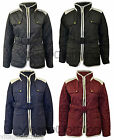Womens Quilted Zip Elbow Patch Panel Trim Ladies Belted Jacket