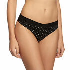 WONDERBRA GLAM 'DOTS CHIC' TANGA BRIEF,STYLE W00CZ,BLACK/SILVER SPOT,SIZE SMALL