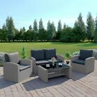 4 Seater Light Dark Grey Rattan Weave Sofa Patio Set Armchair Table