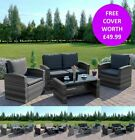 4 Seater Light Dark Grey Rattan Weave Sofa Patio Conservatory Set FREE COVER