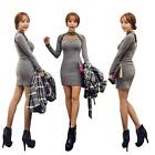 Womens Lace Crew Neck Long Sleeve Sexy BodyCon Slim Party Sweater Mini Dress