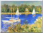 Stretched Wall Art Print Sailboats at the Basin at Argenteuil Claude Monet Repro