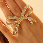 CHIC Exaggerated Luxury Gold Plated Full Rhinestone Bow Opening Adjustable Ring