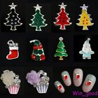 10pcs 3D Christmas Beads Glitter Rhinestones Jewelry Nail Art Alloy DIY Decors
