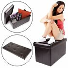 Storage Bench Ottoman Faux Leather Foldable Collapsible Foot Rest Coffee Table