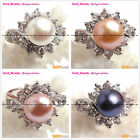 Fashion Jewelry Ring Freshwater Pearl White Gold Plated with Rhinestone,Gift Box