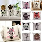 Funny Animal Head Square Throw Pillow Case Home Sofa Decor Waist Cushion Cover