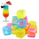 20 x PLASTIC COLOURED REUSABLE COOL ICE CUBES FREEZE BLOCKS COLD DRINKS PARTY