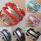 1PC Infinity Love Heart one direction Friendship Silver Leather Charm Bracelet