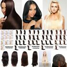 100% Real Remy Human Hair Lace Front Full Wigs+Wig Cap Natural Straight 12-30""