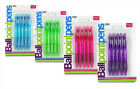 Ball Point Pens Blue Ink Pack of 5 in Blue, Pink, Purple or Green