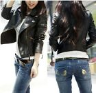 Elegant Ladies Faux Leather Biker Motorcycle Black Zipper Jacket Coat Short - CB