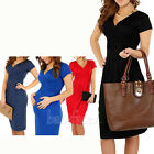 Lady Elegant Celebrity V-neck Short Sleeve Knee-length Casual Bodycon Dress S-XL
